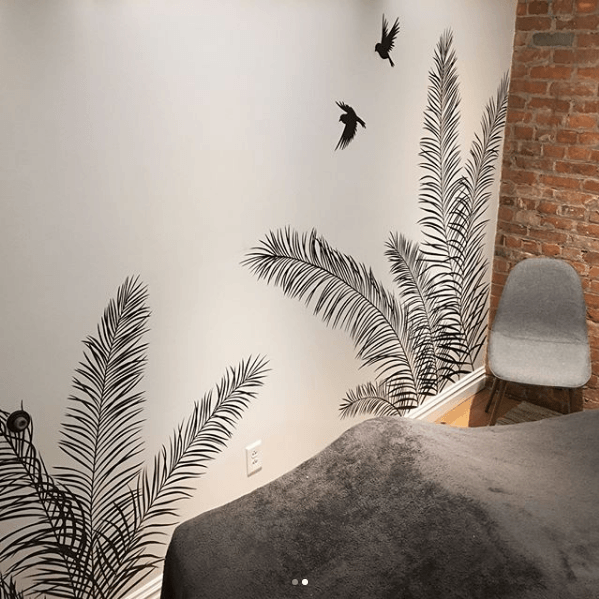 Black and White Palms Mural by Laura Wolanin