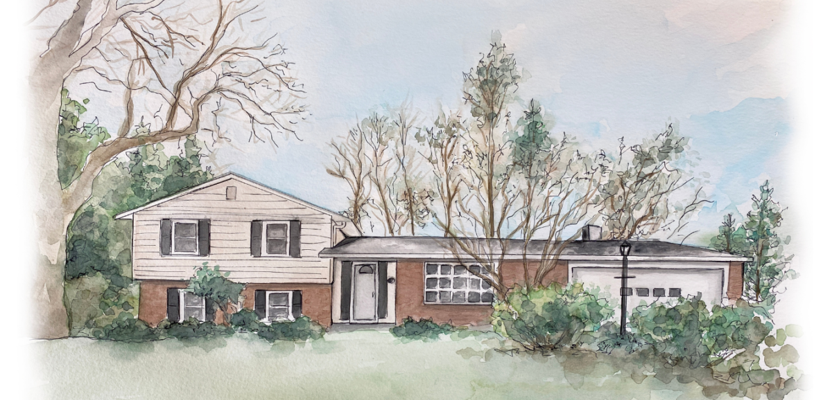 House Portrait in Watercolor by Laura Wolanin