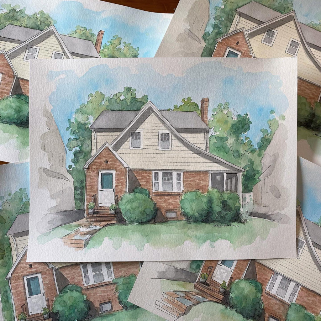 House Portraits in Watercolor by Laura Wolanin